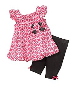 Cuddle Bear® Baby Girls' 2-Piece Geo Capri Set