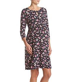 Three Seasons Maternity™ 3/4 Sleeve Floral Peek A Boo Dress