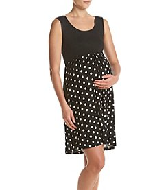 Three Seasons Maternity™ Sleeveless Solid Top Dot Skirt Dress