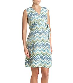 Three Seasons Maternity™ Belted Surplice Chevron Dress