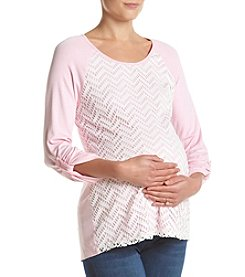 Three Seasons Maternity™ Knit Lace Front Top