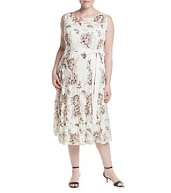 S.L. Fashions Plus Size Floral Belted Dress