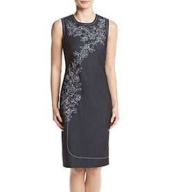 Calvin Klein Floral Embroidered Denim Sheath Dress