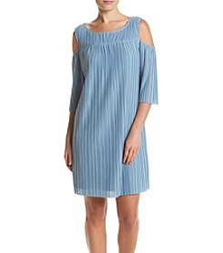 Luxology Pleated Cold Shoulder Dress