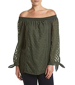 AGB Tie Sleeve Woven Top
