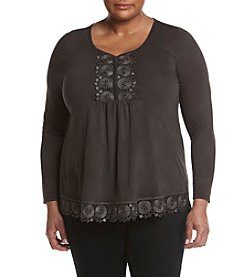 Oneworld® Plus Size Lace Placket Top
