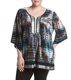 Oneworld® Plus Size Splitneck Embellished Tunic
