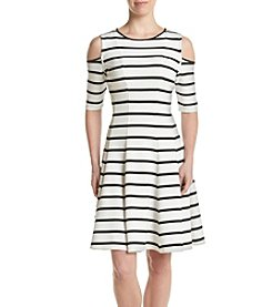 Gabby Skye® Striped Cold-Shoulder Dress