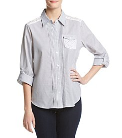 Alfred Dunner® Petites' Stripe Top With Lace
