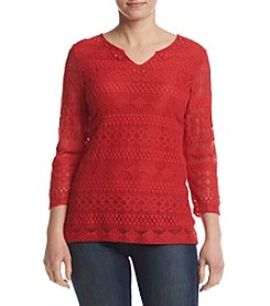 Alfred Dunner® Petites' Texture Lace Tunic Knit Top