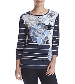 Alfred Dunner® Petites' Floral Stripe Top