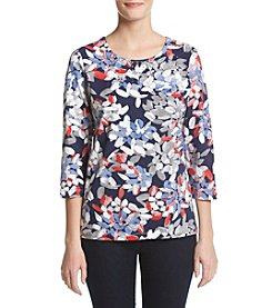 Alfred Dunner® Petites' Abstract Leaf Print Top