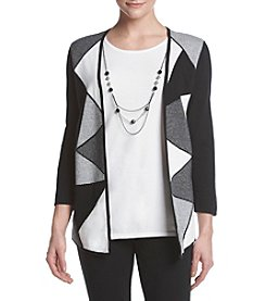 Alfred Dunner® Petites' Check Blocked Two For One Tunic Sweater