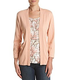 Alfred Dunner® Petites' Tiered Leaves Layered Look Sweater
