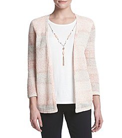 Alfred Dunner® Petites' Stripe Texture Layered Look Sweater
