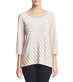 Alfred Dunner® Petites' Spliced Stripe Tunic Top