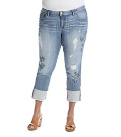 Democracy Plus Size Embroidered Ankle Jeans