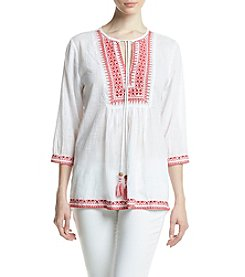 Relativity® Embroidered Peasant Top