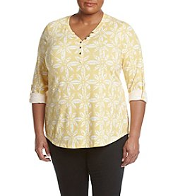 Relativity® Plus Size Stamped Palm Henley
