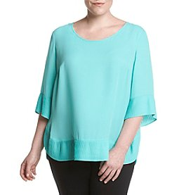 Relativity® Plus Size Pleated Trim Blouse