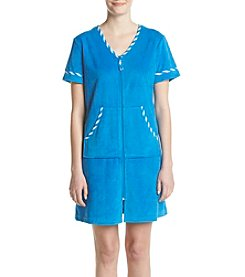 Jasmine Rose® Stripe Trim Front Zip Robe