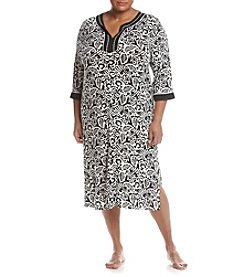 Jasmine Rose® Plus Size Tropics Long Zip Caftan
