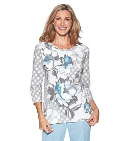Alfred Dunner® Texture Floral Knit Top