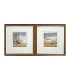 Blue Gold Adventure Abstract Framed Art Set of 2