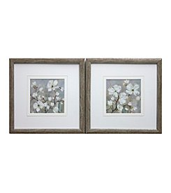 White Grey Magnolia Framed Art Set of 2