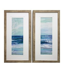 Blue Tide Abstract Framed Art Set of 2