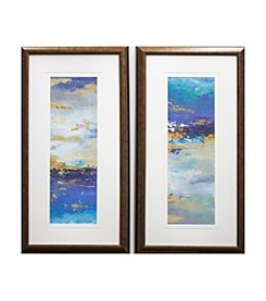 Blue Gold Mystery Abstract Framed Art Set of 2