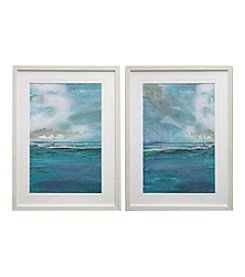 Aqua Tranquil Abstract Framed Art Set of 2