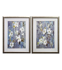 White Blue Magnolia Framed Art Set of 2