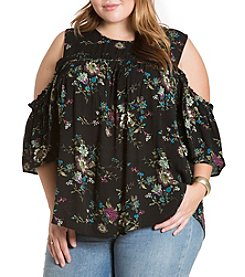 Eyeshadow® Plus Size Floral Cold Shoulder Top
