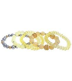 Erica Lyons® Lemon Poppy Five Piece Stretch Bracelet Set