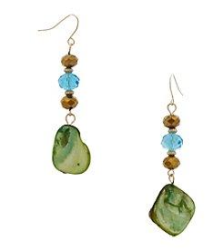 Erica Lyons® Linear Shell Bead Drop Earrings