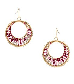Erica Lyons® Seed Bead Multi Hoop Drop Earrings