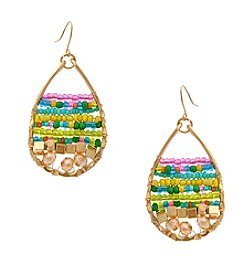 Erica Lyons® Seed Bead Multi Teardrop Drop Earrings