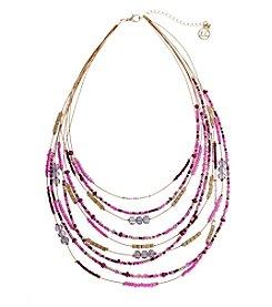 Erica Lyons® Seed Bead Multi Short Bib Necklace