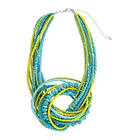 Erica Lyons® Lime A Rita Knot Front Short Seed Bead Necklace