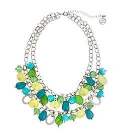Erica Lyons® Lime A Rita Shaky Bead Front Necklace