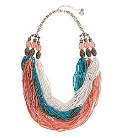 Erica Lyons Cool Multi Strand Seed Bead Statement Necklace