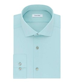 Calvin Klein Men's Solid Slim Fit Spread Collar Dress Shirt