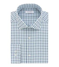 Calvin Klein Men's Slim Fit non Iron Checkered Spread Dress Shirt