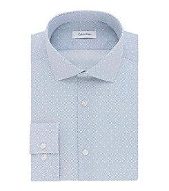 Calvin Klein Men's Slim Fit Print Spread Collar Dress Shirt
