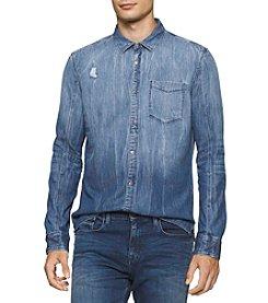Calvin Klein Men's Long Sleeve Dip Dye Denim Shirt