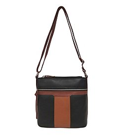 GAL Leather Colorblocked Triple Entry Bucket Crossbody