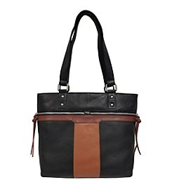 GAL Leather Top Zip Double Handle Shoulder Tote