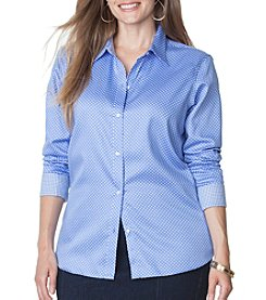 Chaps® Plus Size No-Iron Polka Dot Sateen Shirt