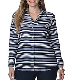 Chaps® Plus Size No-Iron Striped Broadcloth Shirt